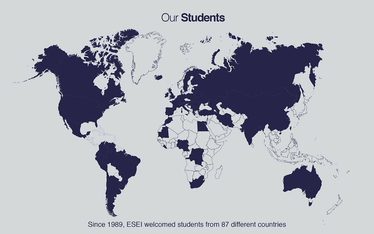 world map students ESEI international