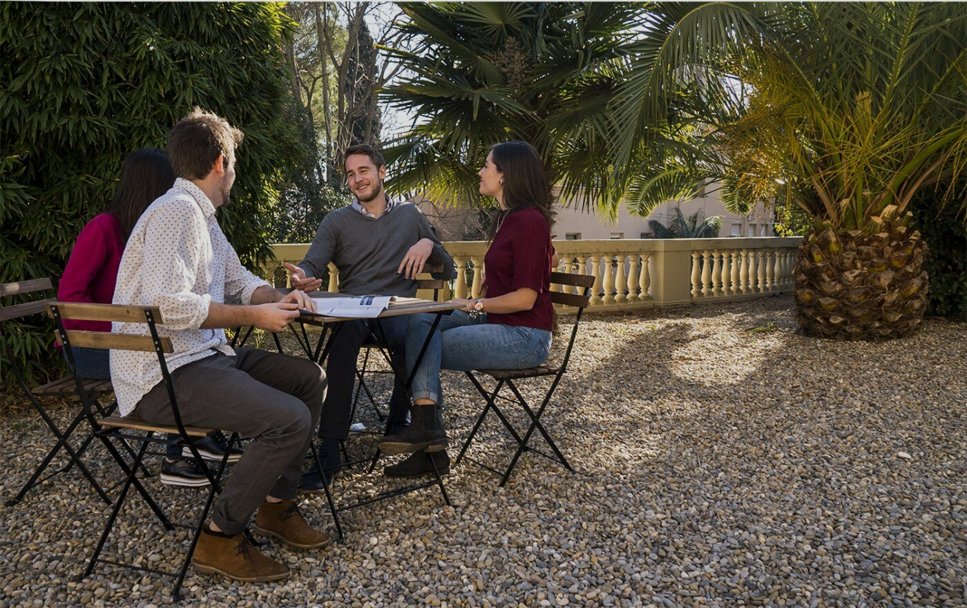 Students talking in ESEI Garden